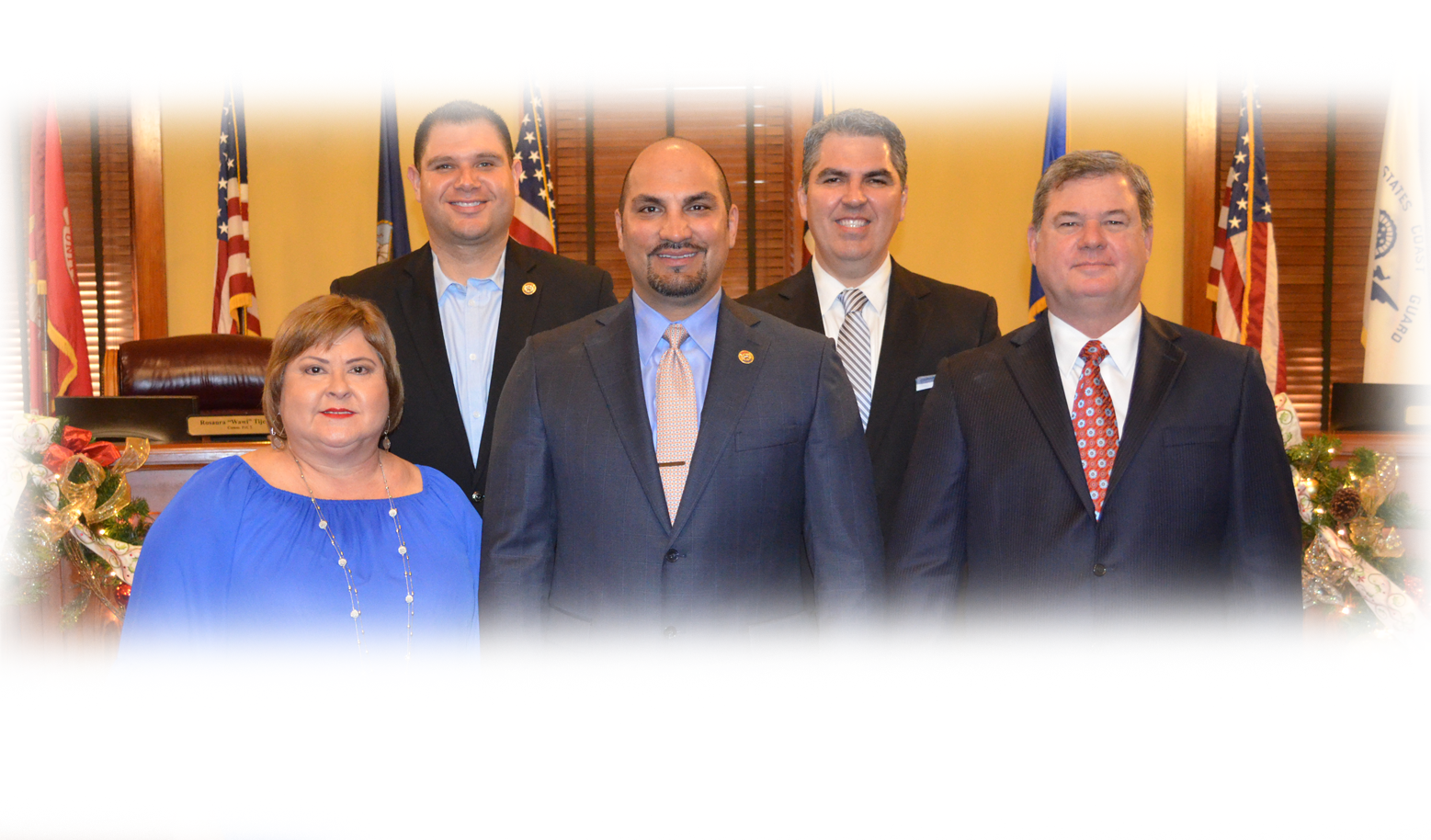 Commissioners Wawi Tijerina, Jesse Gonzalez, Tano Tijerina, Canales, and John Galo at Commissioners Court